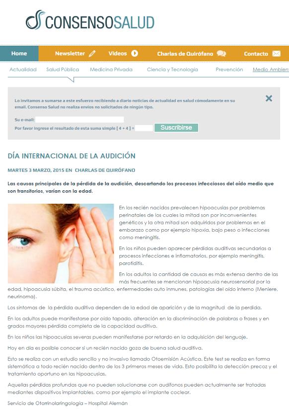 D A Internacional De La Audici N Hospital Alem N